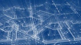Projeto da arquitetura: plano do modelo - ilustração de um plano ilustração stock