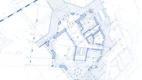 Projeto da arquitetura: plano do modelo - ilustração de uma modificação do plano fotografia de stock