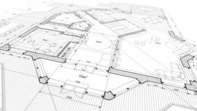 Projeto da arquitetura: plano do modelo - ilustração de uma modificação do plano ilustração do vetor