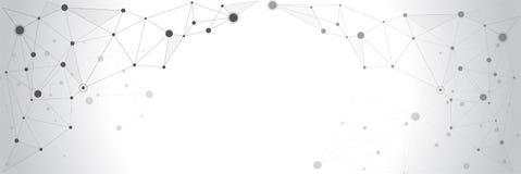 Projeto da bandeira do vetor, pontos de conexão e linhas Rede global ilustração royalty free