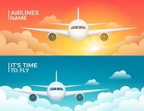 Projeto da bandeira do vetor do turismo do avião do curso Fundo das férias da viagem do mundo Conceito de projeto do voo dos aviõ ilustração do vetor