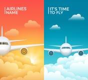 Projeto da bandeira do vetor do turismo do avião do curso Fundo das férias da viagem do mundo Ilustração dos aviões ilustração do vetor