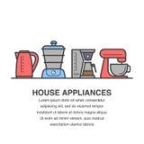 Projeto da bandeira dos dispositivos de cozinha para a propaganda com chaleira, navio, fabricante de café e ícones da bacia do mi Imagem de Stock
