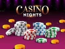 Projeto da bandeira ou do cartaz das noites do casino com ilustração 3d de microplaquetas do casino, moedas de ouro ilustração stock