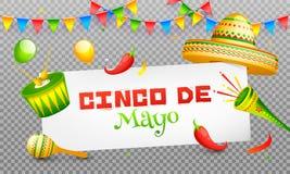 Projeto da bandeira ou do cartaz de encabeçamento da celebração de Cinco De Mayo no fundo do png ilustração do vetor