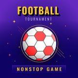 Projeto da bandeira ou do cartaz, texto do competiam do futebol e bola no ab ilustração do vetor