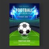 Projeto da bandeira ou do inseto do competiam do futebol com futebol no stad ilustração do vetor