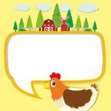 Projeto da beira com galinha e exploração agrícola Imagens de Stock Royalty Free