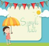 Projeto da beira com menina e guarda-chuva Fotografia de Stock