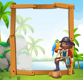 Projeto da beira com papagaio e pirata Imagens de Stock