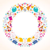 Projeto da beira do quadro do círculo do feliz aniversario Foto de Stock