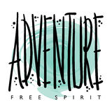 Projeto da cópia dos gráficos do t-shirt do espírito livre da aventura Imagens de Stock