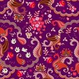 Projeto da caixa do chocolate Teste padrão sem emenda étnico com o paisley, as flores e o pássaro mágico no vetor isolados no fun ilustração royalty free