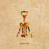 Projeto da carta de vinhos do grunge do vetor Imagem de Stock Royalty Free