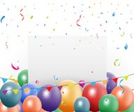 Projeto da celebração do aniversário com balão e confetes Fotografia de Stock Royalty Free