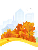 Projeto da cidade do outono ilustração do vetor