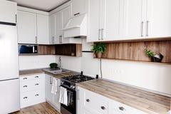 Projeto da cozinha no estilo escandinavo moderno luz à moda - cinza fotografia de stock royalty free