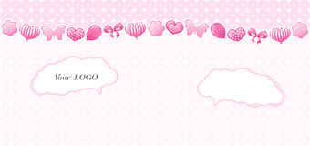 Projeto da criança em cores cor-de-rosa Teste padrão sem emenda com corações, curvas Fotografia de Stock Royalty Free