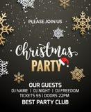 Projeto da decoração do convite do cartaz da festa de Natal Fundo do molde do feriado do Xmas com flocos de neve ilustração royalty free