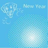 Projeto da decoração do feriado de Art Comic Banner With Dog do PNF do cartão do ano novo ilustração royalty free