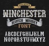 Projeto da decoração do whith da fonte da etiqueta de Winchester Estilo velho Imagem de Stock Royalty Free