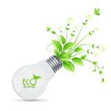 Projeto da energia de ECO com a árvore que cresce dos bulbos ilusstrati Fotografia de Stock Royalty Free