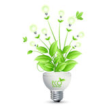 Projeto da energia de ECO com a árvore que cresce dos bulbos ilusstrati Foto de Stock Royalty Free