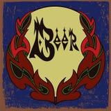 Projeto da etiqueta da cerveja com quadro do ornamento Imagens de Stock Royalty Free