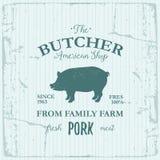 Projeto da etiqueta de American Shop do carniceiro com carne de porco Molde textured logotipo do vintage do animal de exploração  Imagens de Stock Royalty Free
