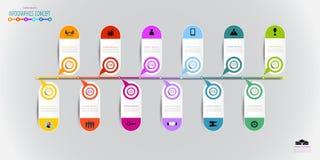 Projeto da etiqueta do elemento de Infographics com ícone e opção 12 ou ste ilustração stock