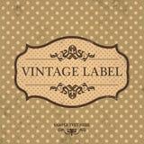 Projeto da etiqueta do vintage com fundo retro Fotografia de Stock