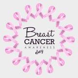 Projeto da fita da conscientização do câncer da mama com texto Foto de Stock Royalty Free