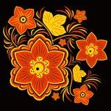 Projeto da flor em vermelho, em amarelo e em preto imagem de stock royalty free