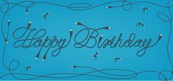 Projeto da fonte de USB do feliz aniversario Ilustração Royalty Free