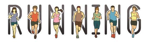 Projeto da fonte do texto running, corredores de maratona, corredor do grupo de pessoas, corrida dos homens e das mulheres ilustração royalty free