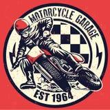 Projeto da garagem da motocicleta do vintage com textura suja ilustração do vetor