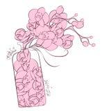 Projeto da garrafa do perfume da decoração da orquídea da flor Foto de Stock