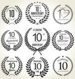 Projeto da grinalda do louro do aniversário, 10 anos Imagens de Stock