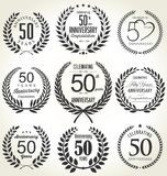 Projeto da grinalda do louro do aniversário, 50 anos Imagem de Stock Royalty Free