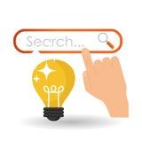 Projeto da ideia Ícone do bulbo Conceito da solução Imagens de Stock
