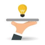 Projeto da ideia Ícone do bulbo Conceito da solução Imagens de Stock Royalty Free