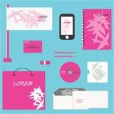 Projeto da identidade corporativa do vetor Combinação geométrica abstrata cor-de-rosa das folhas de palmeira Jogo dos artigos de  ilustração stock