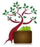 Projeto da ilustração da árvore e da carteira do dinheiro Imagem de Stock Royalty Free