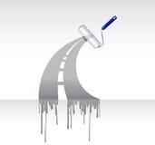 Projeto da ilustração da estrada da tinta do rolo de pintura ilustração stock