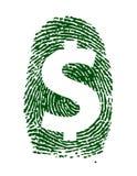 Projeto da ilustração da impressão digital do sinal de dólar Fotografia de Stock Royalty Free
