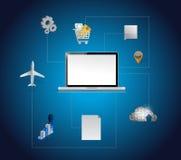 Projeto da ilustração das ferramentas e da conexão de computador Imagens de Stock Royalty Free