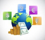 Projeto da ilustração das moedas ao redor do mundo Imagens de Stock Royalty Free