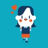 Projeto da ilustração do caráter desenhos animados alegres da mulher de negócios, eps ilustração royalty free