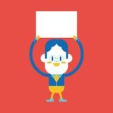 Projeto da ilustração do caráter Desenhos animados da placa do homem de negócios, eps ilustração royalty free
