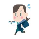 Projeto da ilustração do caráter Desenhos animados ocupados da mulher de negócios, eps ilustração stock